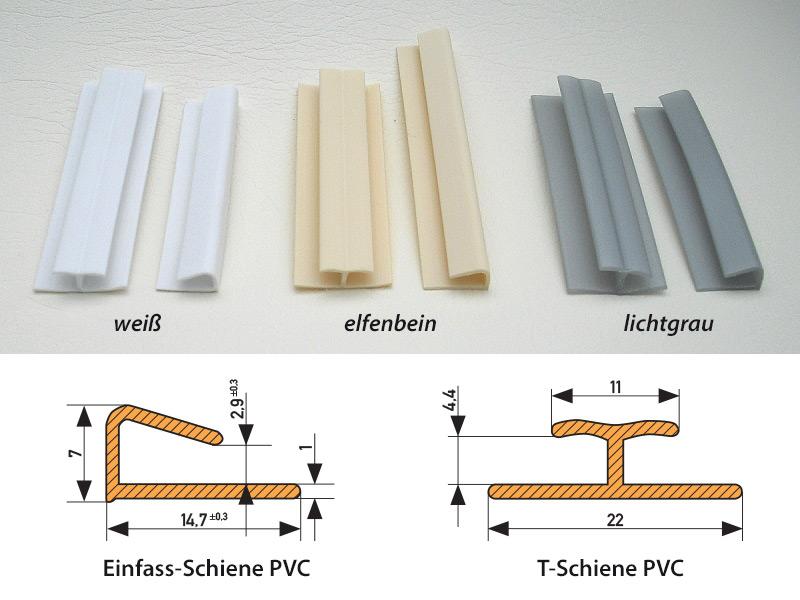 PVC Schienen - Farben und Maße pvc schienen PVC rails PVC Schienen darstellung1