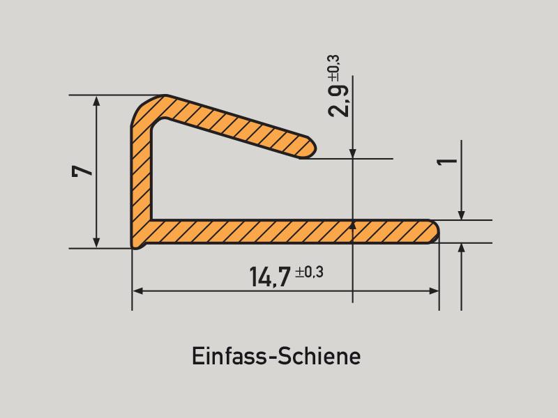 PVC Schiene - Einfass-Schiene pvc schienen PVC rails PVC Schienen Profil Einfass Schiene