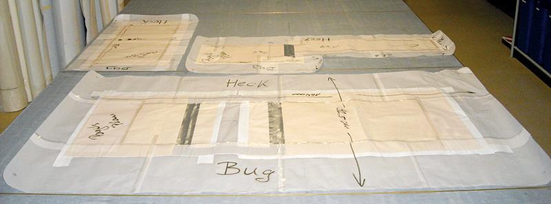 Angefertigte Schablone mit Maßen sowie Angabe von Bug und Heck anfertigung Production anfertigung schablonen