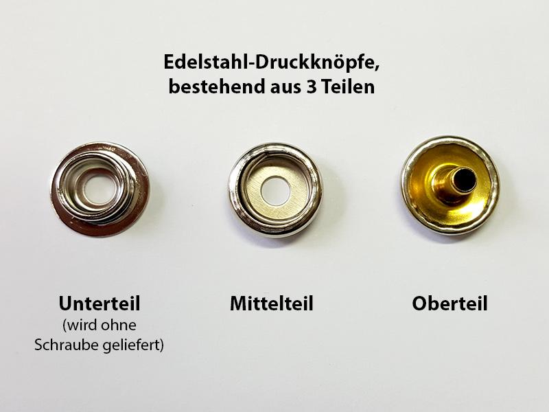 Edelstahl-Druckknöpfe, bestehend aus 3 Teilen edelstahl-druckknöpfe Snap fasteners (rustproof) druckknopf teile erlaeterung